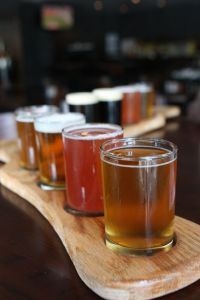 Paddle of beer showing 8 different samples.